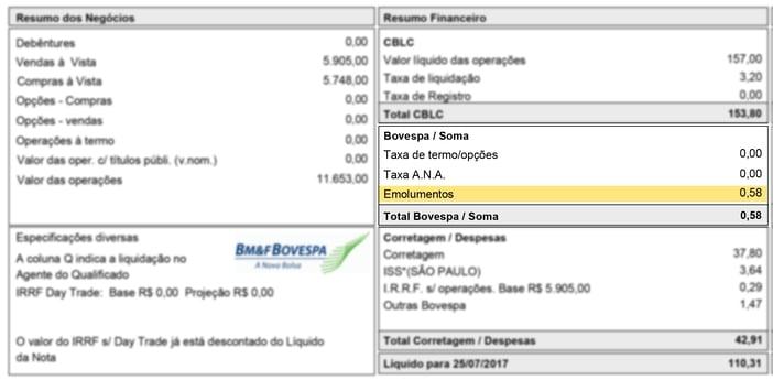 Emolumentos Bovespa - Nota de Corretagem.